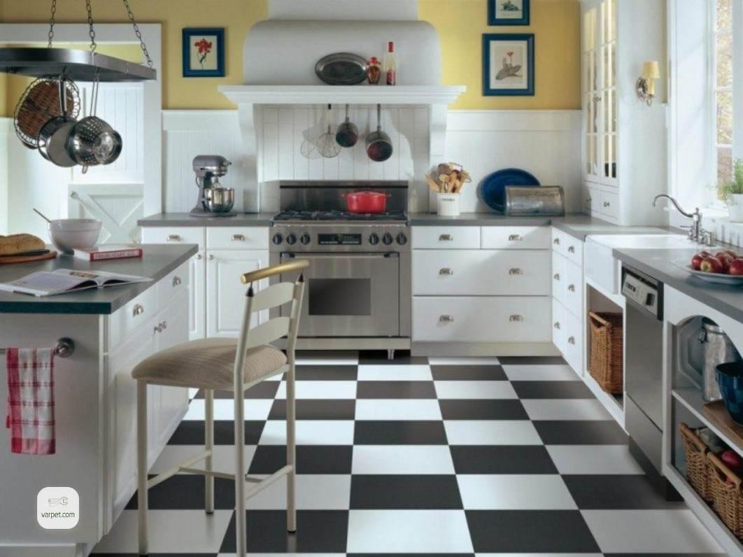 Black and white quartz vinyl tiles