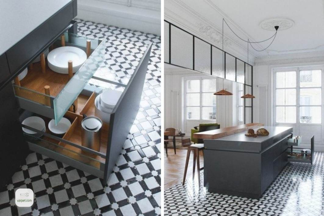 Diagonal laying of tiles